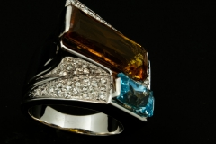 Citrine and Blue topaz set in 14kw with diamonds
