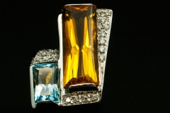Citrine and Blue topaz set in 14kw