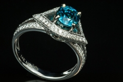 Blue zircon and diamond ring set in 14kw