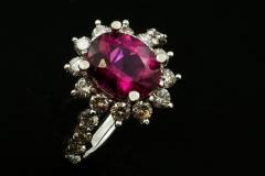 Rubalite and diamond ring set in 18kw