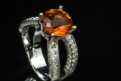 spessertite and diamond ring set in 14kw