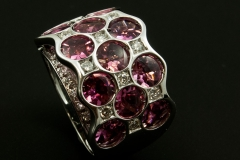 Pink tourmoline and diamond ring set in 14kw