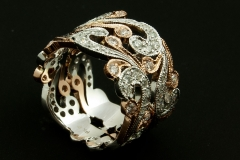 14k rose and white diamon band