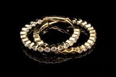 14ky shared prong inside /out diamond hoop earrings