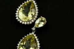 Lemon quartz and diamond dangle earrings