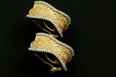 14ky diamond omega clip earrings