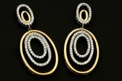 14k twotone diamond dangle earrings