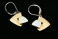 14ky geometric diamond dangle earrings
