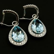 Aqua and diamond dangle earrings