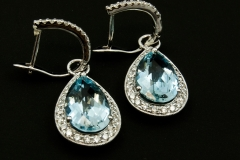 Aqua and diamond dangle earrings