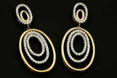 14k twotone diamond dangle earrings