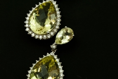 Lemon quartz and diamond dangle earrings