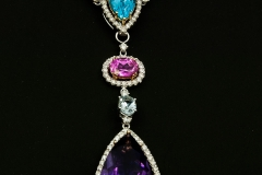 topaz citrine pink tourmoline and amythist pear shape drop neckpiece